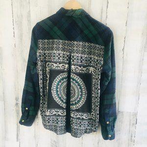 Tolani Collection Evan Plaid Printed Back Shirt